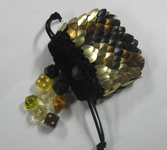 Scalemail Dice Bag of knitted Dragonhide Armor Brown Pheonix on hold for Vane