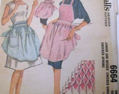1960s McCalls Checked Gingham Smocked Apron Patterns No 6664