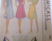 1940s Apron Patterns By McCall Size Medium No 987