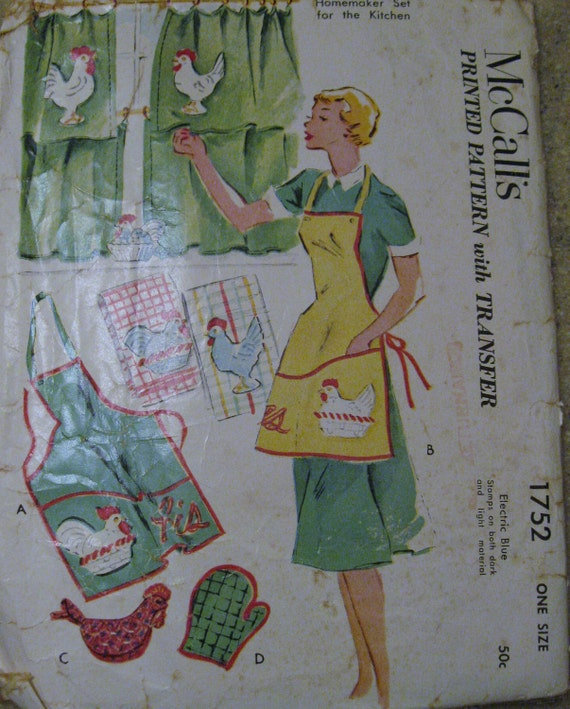 1952 McCalls Chicken and Rooster Transfer Apron Pattern 1752