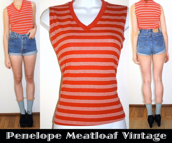 SALE- VTG 70s XS Red Striped Tank