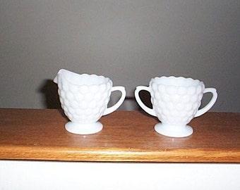 Vintage Milk Glass Cream and Sugar Set
