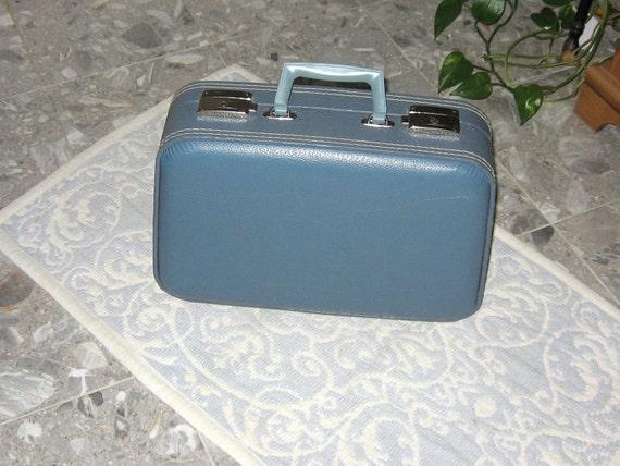 Small Mini Vintage Suitcase Blue Luggage