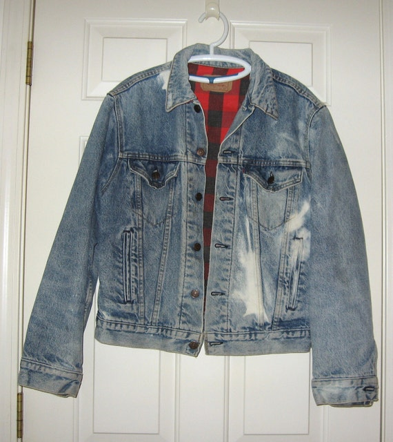 Vintage Levis Denim Jacket Acid wash Red Label Quilt lined 4 Pockets Size 40