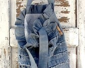 Cotton Tote Bag, Vintage Country Bleu, Tattered and Torn Ruffles. Bella Bag