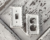Metal Wall Decor, Light Switch Cover, Creamy Off White, Your Choice of 1 Style, Please Choose Your Style - CamillaCotton