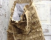 Rustic Chic, Ruffled Bag, Shoulder Bag, Bella Bag in Aged Cotton, Tattered and Raw Edged, Maid of Honor Gift