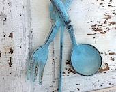 Kitchen Wall Hook, Shabby Chic Iron , Soft Aqua