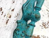 Rustic Metal Door Pulls and Wall Hook , French Decor in Spanish Hacienda Aqua Green