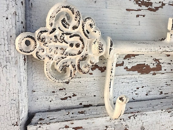 Cast Iron Key Hook, Shabby Chic and Distressed in Heirloom Creamy White