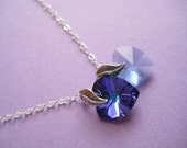 Cool Blues - Double Heart Swarovski Crystals Sterling Silver Necklace