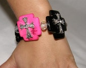 Outlaw Cowgirl Black Onyx and Deep Pink Turquoise Breacelet   Free Shipping