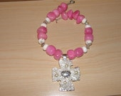 Pink Necklace with Cross Pendant