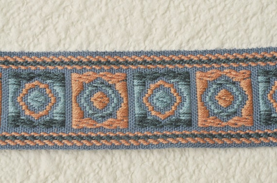 RESERVED for PRUDENCE - Wonderful Fabric Trim - Salmon and Blue - 9 yards