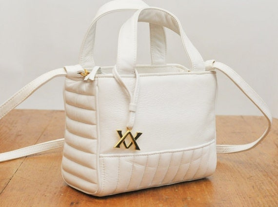 Vintage Adrienne Vittadini White Leather Bag Purse with Shoulder Strap