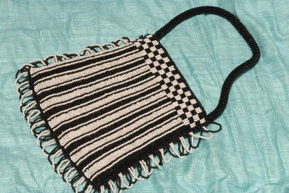 Vintage Black and White Beaded Bag - FABULOUS