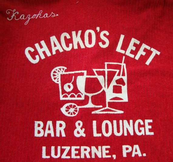 SALE 1960s Knit Bowling Shirt with Bar Themed Sponsor, Chacko's Left Bar and Lounge  SALE
