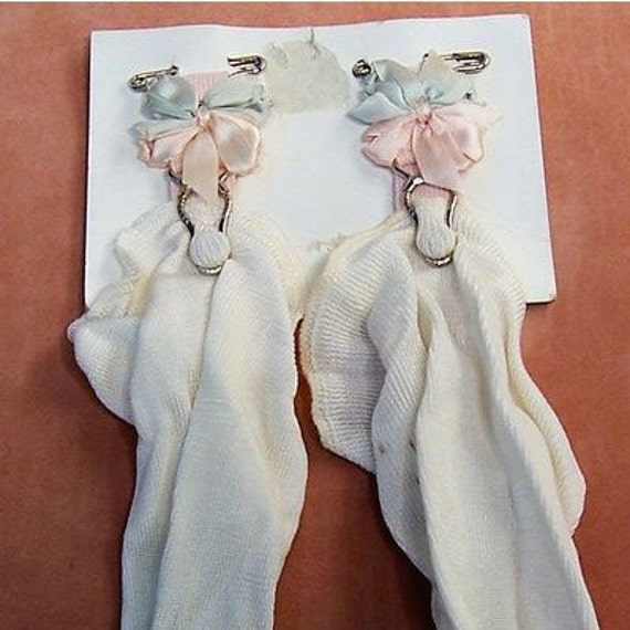 Early 1900's Child's Silk Rosette Garters Pins and Stockings