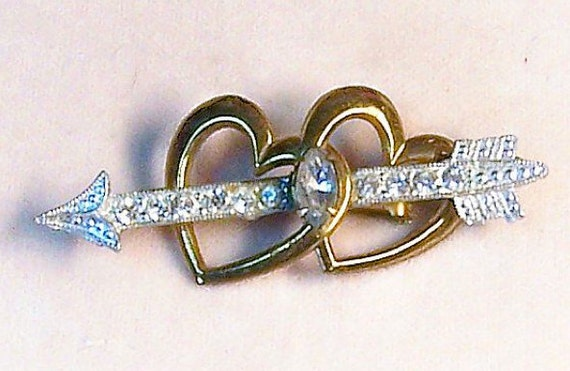 Now On Reserve for Amy Vintage 1930's Rhinestone Hearts and Arrow Valentine Pin