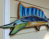 Funky Recycled Wood Art Very Large Marlin Wall Art