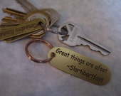 Great Things are Afoot HGTTG inspired Brass Keychain