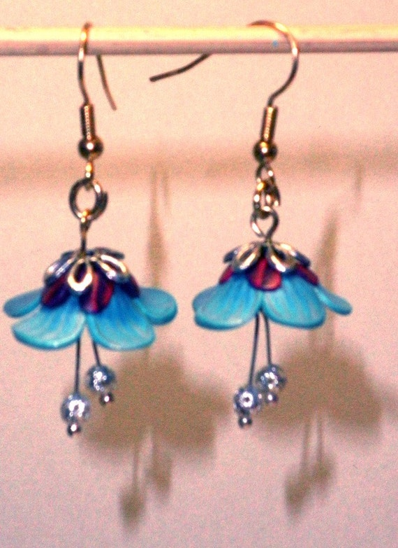 Polymer Clay Turquoise flower Earings