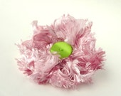 Corsage in Pink Fizz Ribbon with Lime Green Button Centre