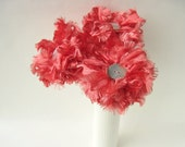 3 Coral Pink Flowers, Ribbon Flower Bouquet, table decor, wedding decor