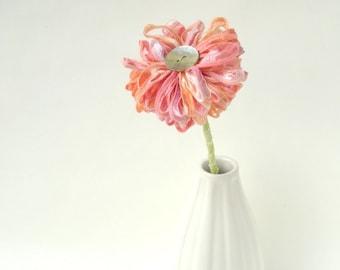 Peach Melba Fabric Flower