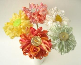 Custom Bouquet, 5 handmade artificial flowers