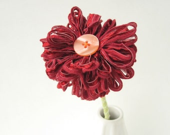 Dark Red Ribbon Flower Stem, wine red, cranberry