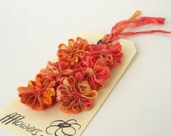 Ribbon Flower Appliques in Papaya Orange