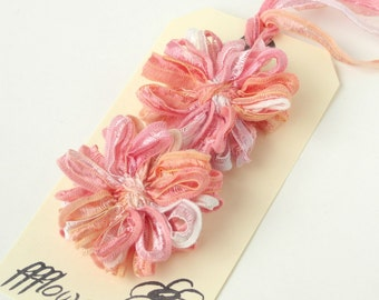 Flower Appliques in Peach Melba Ribbon, 2inch, 5cm