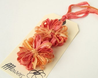 Flower Appliques in Papaya Ribbon 2 inch, 5cm