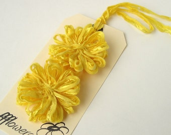 Flower Appliques in Yellow Ribbon, 2inch, 5cm