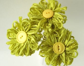 3 Lime Green Ribbon Flowers, handmade fabric bouquet