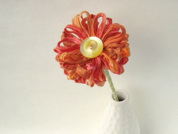 Handmade Fabric Flower in Papaya Ribbon