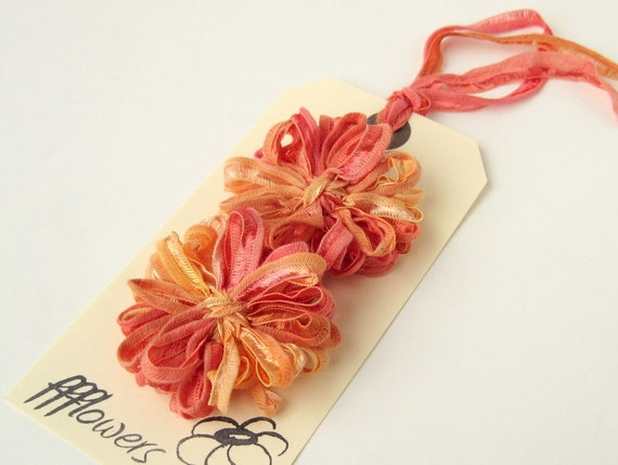 Flower Appliques in Papaya Ribbon 2 inch, 5cm