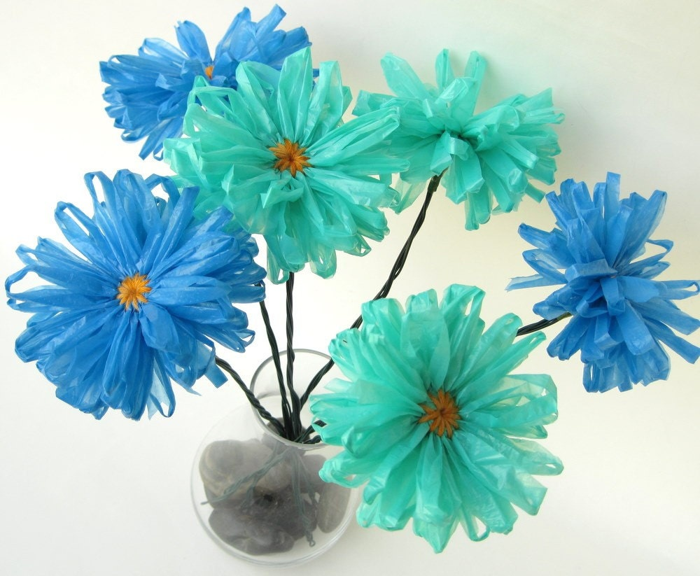 3 Upcycled Plastic Bag Flowers Blue Eco Daisies