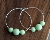 Minty hoops - sterling silver and vintage lucite