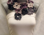 Multicolor Scarf. Crochet Scarf. Autumn flowers