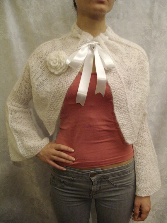 Handmade knit warm and soft shrug for wedding
