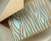 Faux Bois Paper Cut Card - Blue Woodgrain