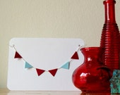Paper Garland Note Card Red Blue Americana Bunting