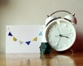 SALE Paper Garland Note Card Blue Yellow Bunting