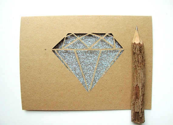 Custom Reserved Diamond Paper Cut Card in Ruby Red