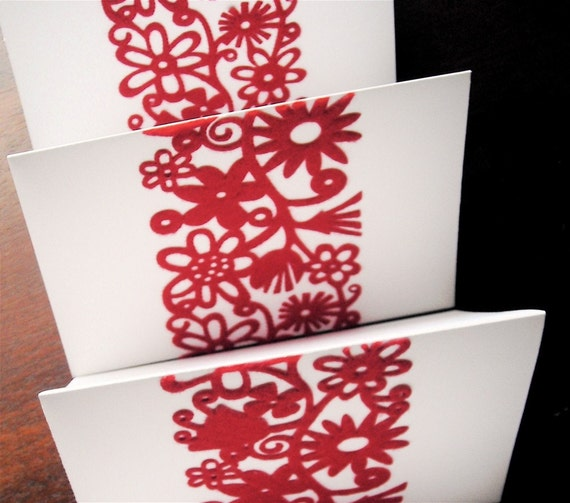4 Red Felted Lace Note Cards Set