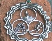Triathlon Ornament in Wreath - Female