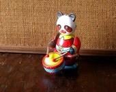 Vintage Collectible Item Circus Panda Playing Drum Tin Toy