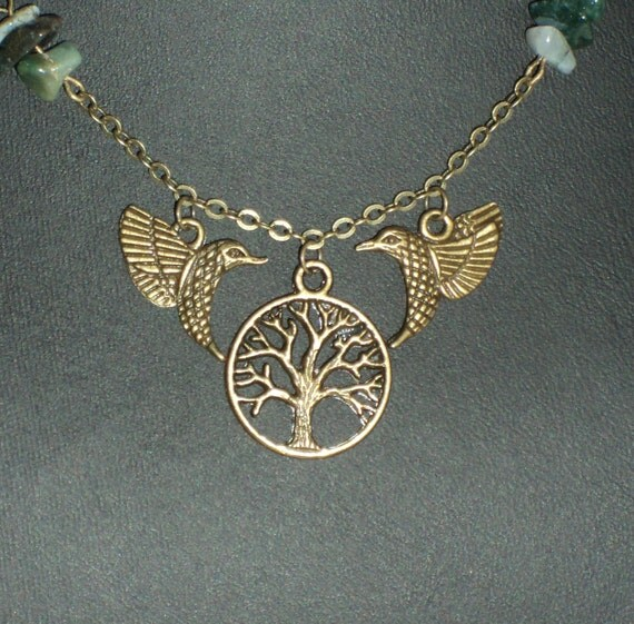 The Birds, Tree of Life - Green Jasper and brass necklace